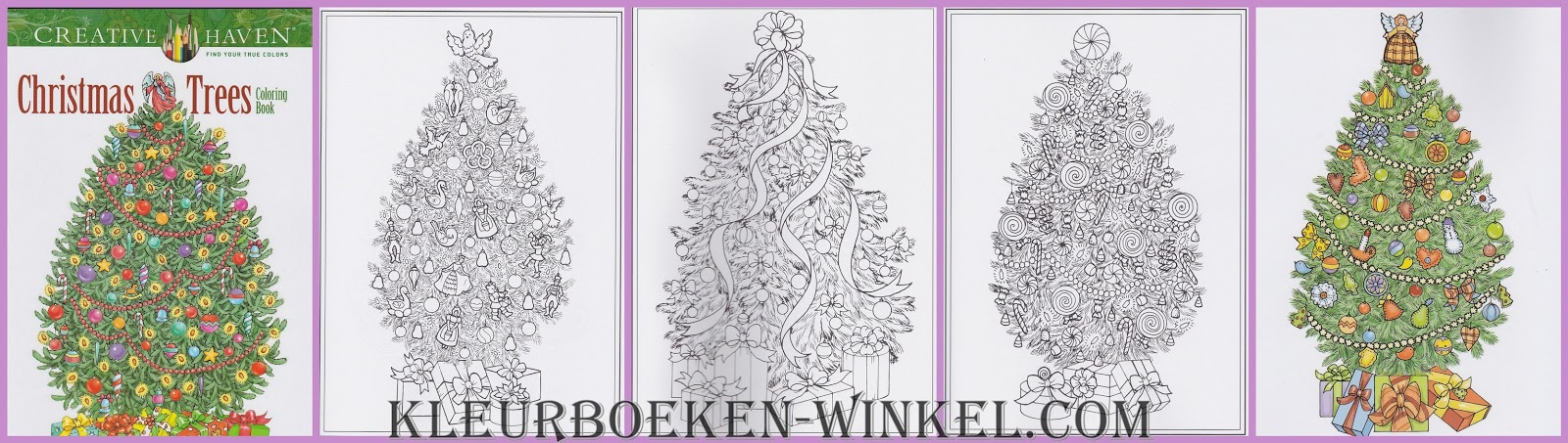 CH 105 christmas trees, kleurboek Creative Haven, kerst en winter