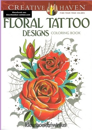floral tattoo designs, kleurboek tattoos