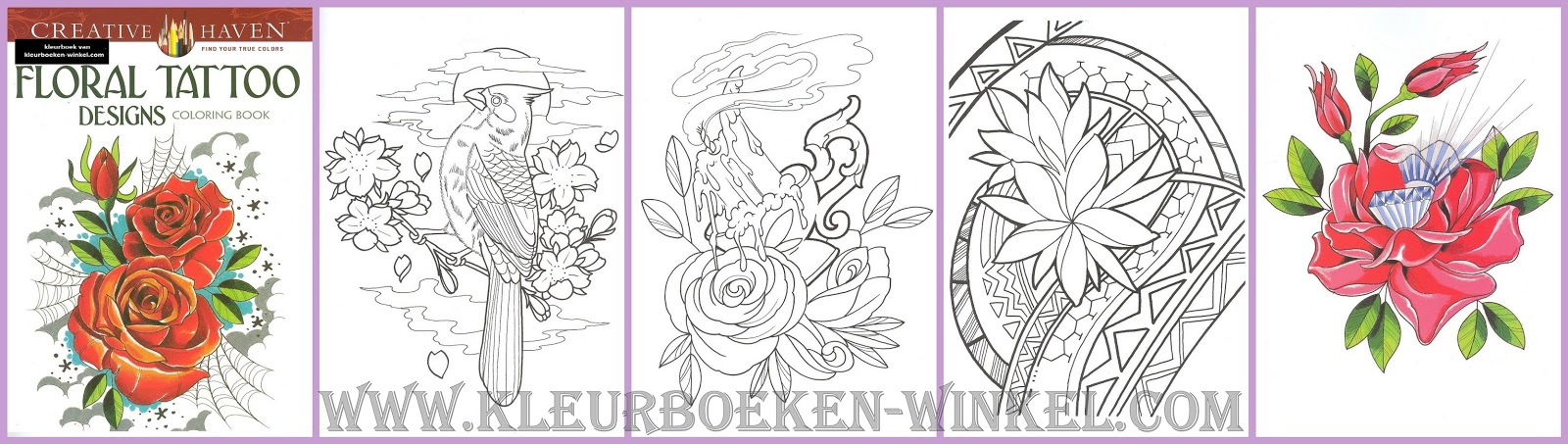 CH 60 floral tattoo designs, kleurboek tattoos
