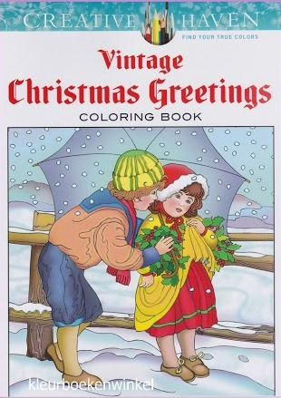 CH 66 vintage christmas greetings, kleurboek Creative Haven, kerst en winter