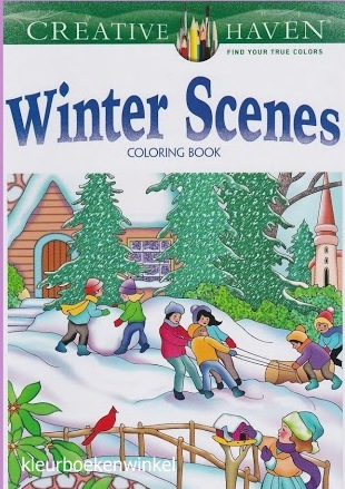 CH 68 winter scenes, kleurboek Creative Haven, kerst en winter